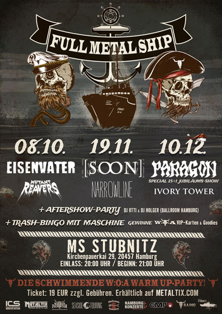 Drei Full Metal Ship Partys im Hamburger Hafen