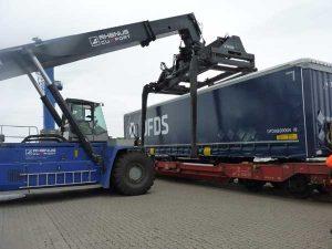 Foto: Umschlag eines Containers vom Zug auf das Terminal mit direktem Gleisanschluss. Bildquelle: Cuxport GmbH